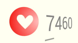 Close up shot of likes quickly increasing to 30 thousand views, red heart (love) icon.