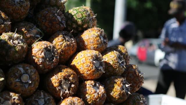 santo domingo dominican republic november 30 2012 a close up shot of plenty pineapples that have been stacked on a pushcart on a street market in a... - santo domingo dominican republic stock videos & royalty-free footage
