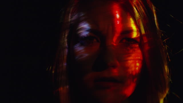 'Close up shot of projections on woman‰Ûªs face / Cedar Hills, Utah, United States'