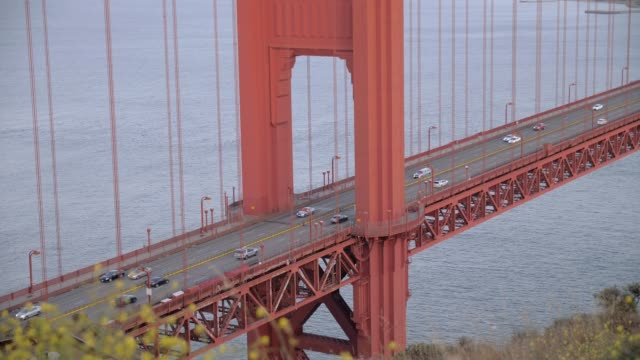 close up shot of the golden gate bridge and busy traffic at sunset, san francisco, california, united states of america, north america - golden gate bridge stock-videos und b-roll-filmmaterial