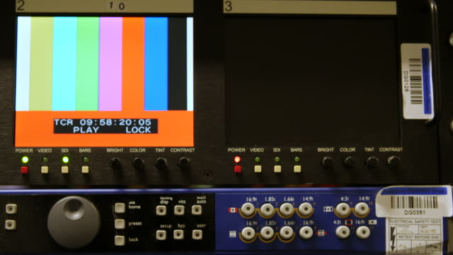 close up shot of two display panels showing playback of colour bars from a digibeta tape - digital viewfinder stock videos & royalty-free footage
