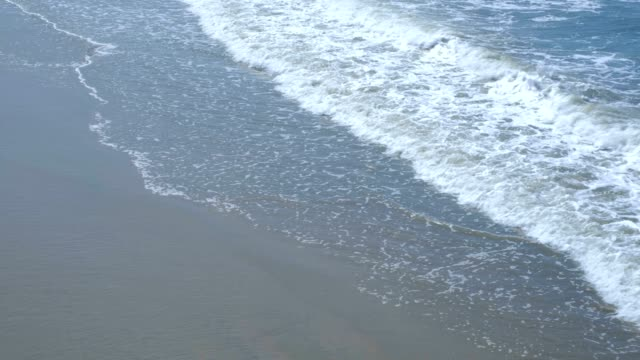 Close Up Shot of Waves Rolling Up Beach
