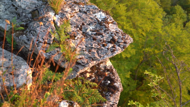 close up shot overlooking a cliff at sunset - fels stock-videos und b-roll-filmmaterial