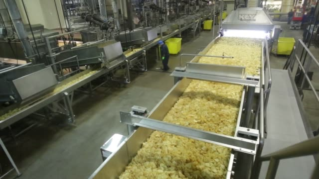 close up shots of kettle foods inc potato chips moving down along a conveyer belt after the deep frying process at the kettle foods inc manufacturing... - セーラム点の映像素材/bロール