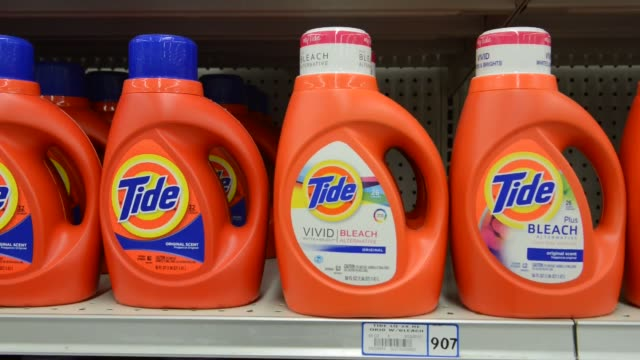 close up shots of procter gamble products are displayed on a supermarket shelf tide laundry detergent procter gamble products tide on october 23 2013... - laundry detergent stock videos and b-roll footage