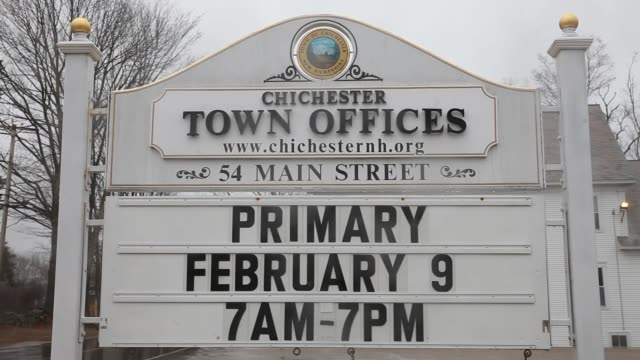 Close up shots of signage advertising the New Hampshire primary at the town offices of Chichester New Hampshire on February 2nd 2016 Photographer...