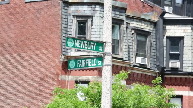 close up shots of street signage along newbury st in boston, ma, wideshots of tourists, visitors and commuters walking across farfield st along... - back bay boston stock videos & royalty-free footage