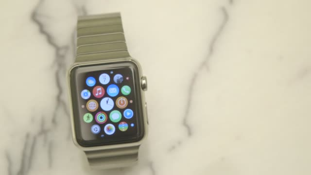 close up shots of the apple watch arranged for a photo shoot in new york ny us on april 2 2015 shots steady close up shots of the face of the apple... - 2015点の映像素材/bロール