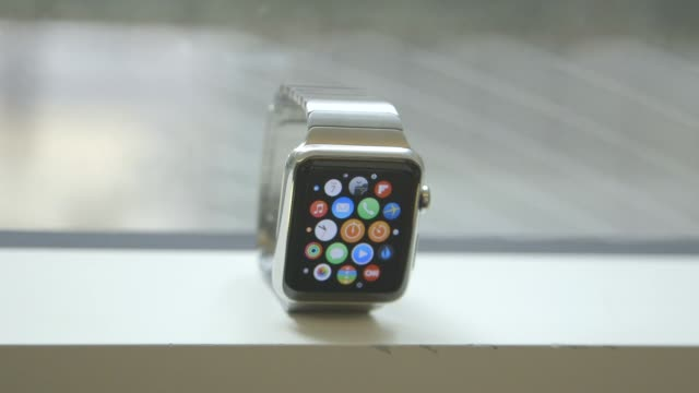 Close up shots of the Apple Watch arranged for a photo shoot in New York NY US on April 2 2015 Shots close ups and pans of the Apple Watch propped up...
