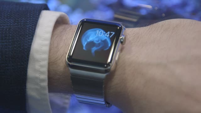 close up shots of the apple watch arranged for a photo shoot in new york ny us on april 2 2015 shots close ups of the apple watch displayed on a... - 2015点の映像素材/bロール