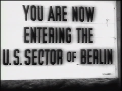 you are now entering the us sector of berlin / germany / newsreel - cold war stock videos and b-roll footage