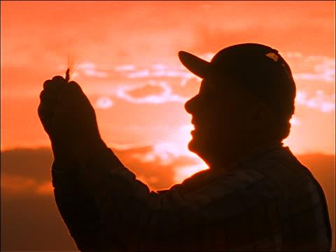 close up silhouette of elderly farmer examining wheat / sunset