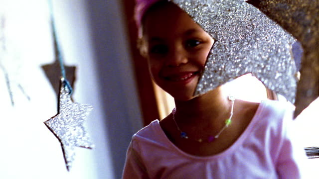 close up small black girl in costume posing - dressing up stock videos & royalty-free footage