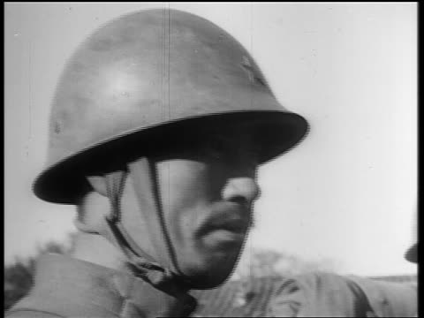 close up solemn japanese soldier with helmet / japan invading manchuria - 1931 stock videos & royalty-free footage