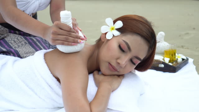 close up spa aroma in thai style - head massage stock videos and b-roll footage