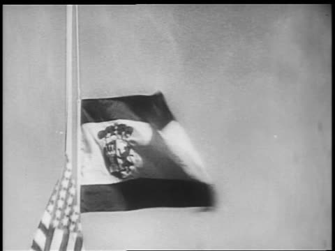 B/W 1898 close up Spanish flag being lowered US flag being raised / SpanishAmerican war