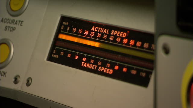 close up speedometer of london underground train gauging increasing speed / london - sheppard132点の映像素材/bロール