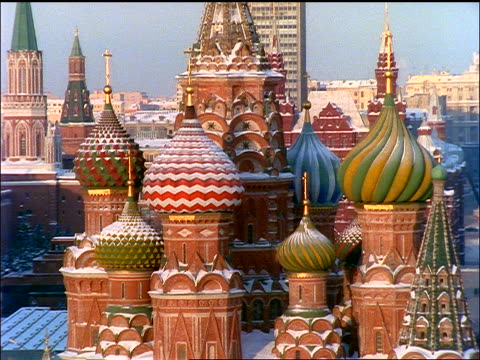 close up spires + onion domes of st. basil's cathedral / moscow - st. basil's cathedral stock videos and b-roll footage
