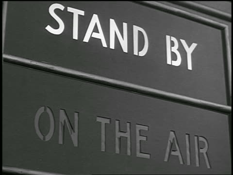 "B/W 1936? close up ""Stand By"" sign in radio station"