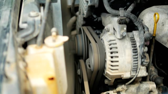 close up starting an old automobile engine. - engine stock videos & royalty-free footage