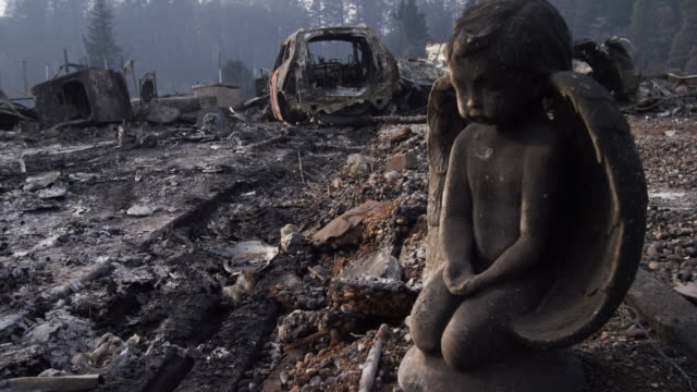close up, statue burned in california fire - rubble stock videos and b-roll footage