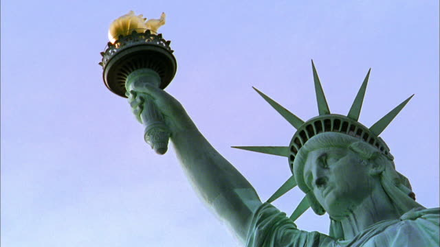 Close up Statue of Liberty holding torch