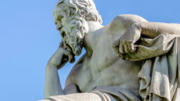 Close Up Statue of the Philosopher Socrates on Sky Background