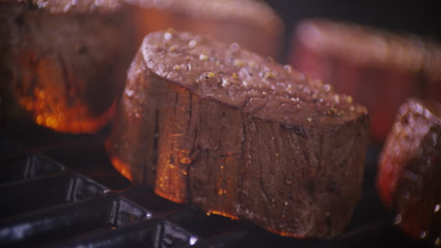 close up steak tenderloin medallions on barbecue grill. - tenderloin stock videos and b-roll footage