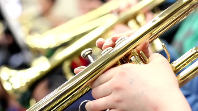close up student playing trumpet - junior high stock videos & royalty-free footage