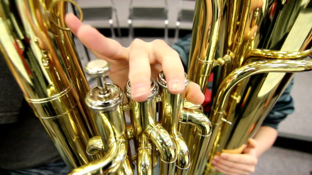 close up student playing tuba - junior high stock videos & royalty-free footage