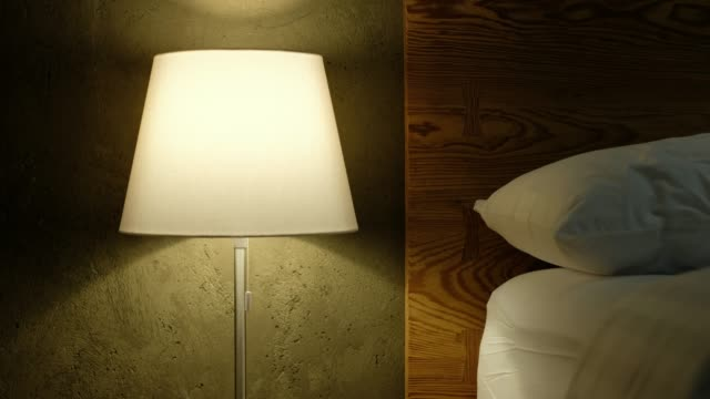 close up table bed lamp with people sleepless at bed in bedroom - bedroom stock videos & royalty-free footage