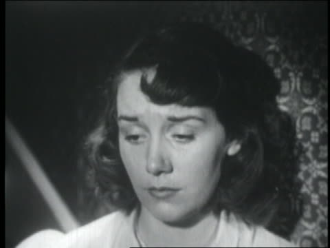 b/w 1951 close up teenage girl crying - 1951 stock videos & royalty-free footage