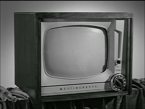 b/w 1953 close up television with blank screen - blank screen stock videos & royalty-free footage