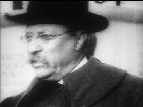 b/w 1912 close up theodore roosevelt wearing hat talking / documentary - theodore roosevelt us president stock videos & royalty-free footage