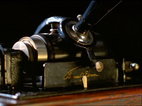 close up Thomas Edison gramophone playing