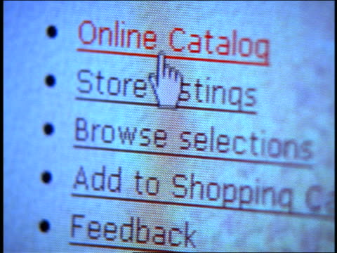close up tilt down computer display with pointer highlighting shopping-related web page bullets