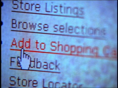 close up tilt down computer display with pointer highlighting shopping-related web page bullets - 1999 stock videos & royalty-free footage