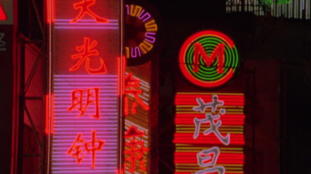 close up tilt down flashing neon signs with chinese + english writing / nanjing road, shanghai, china - chinese culture stock videos & royalty-free footage