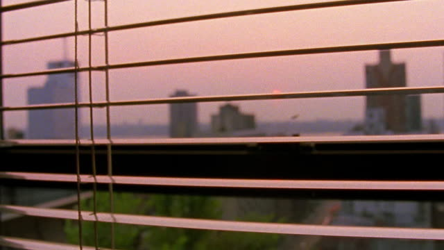 close up tilt down hand parting slats of vertical blinds in window with cityscape at sunset in background / nyc - unknown gender stock videos & royalty-free footage