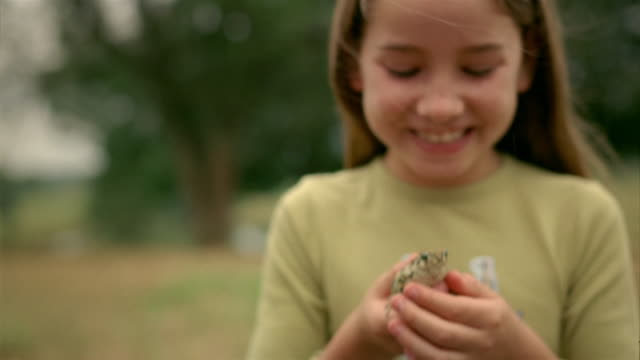 close up tilt down tilt up selective focus girl holding small frog in her hands / smiling at cam - wildlife stock videos & royalty-free footage