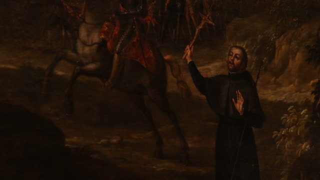 close up tilt right oil painting probably with francisco de xavier in the castle of javer in the region of navarra birth side of francisco de xavier... - jesuit stock videos and b-roll footage