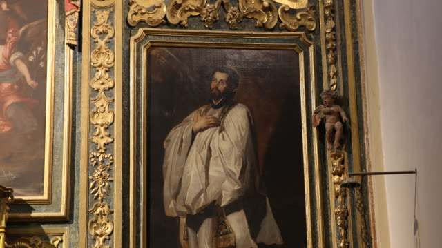 close up, tilt right oil painting probably with francisco de xavier. chapel of the castle in javer in the region of navarra. birth side of francisco... - missionary stock videos & royalty-free footage