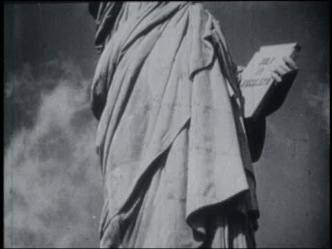 b/w 1946 close up tilt up statue of liberty - statue of liberty new york city stock videos & royalty-free footage