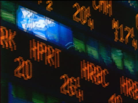 close up tilt up stock prices on ticker board on side of building / Times Square, NYC