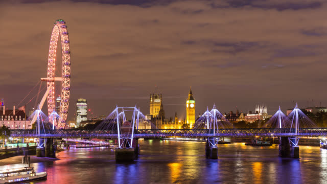 LONDON - Close Up Time Lapse of London Eye and Westminster during the night