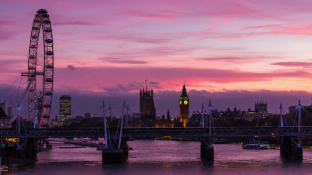 LONDON - Close Up Time Lapse of Westminster at Sunset