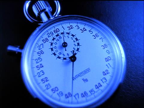 close up time lapse stopwatch / blue filter - zeitmessinstrument stock-videos und b-roll-filmmaterial