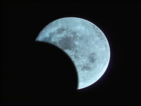 CGI close up time lapse total lunar eclipse with red shadow over moon