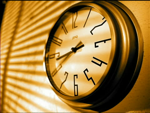 sepia close up time lapse wall clock spinning quickly / window shades opening + closing - jalousie stock-videos und b-roll-filmmaterial