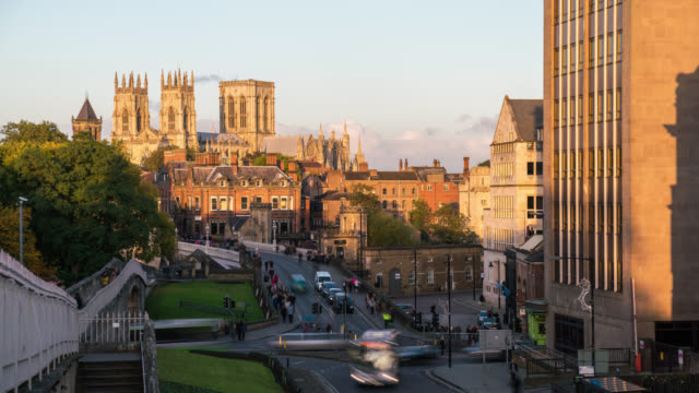 YORK: Close Up TimeLapse of York Minster during the golden hour